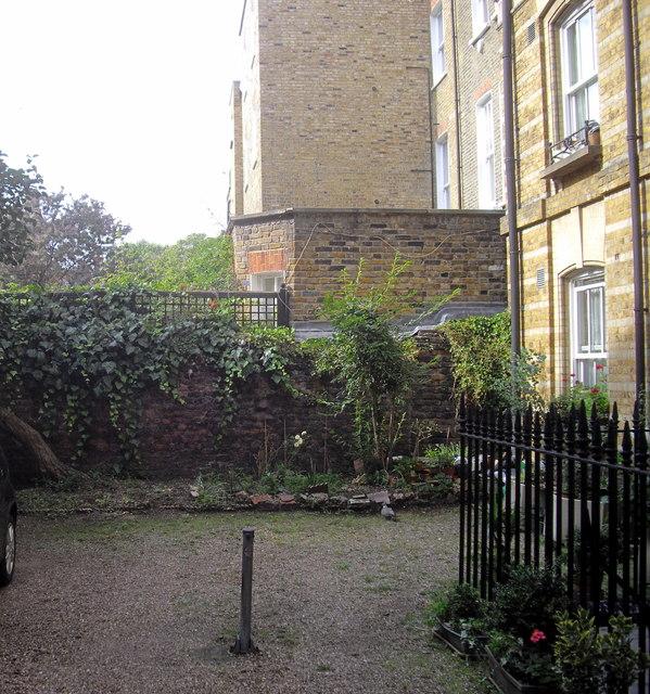 Old wall behind Adair House Oakley Street Chelsea