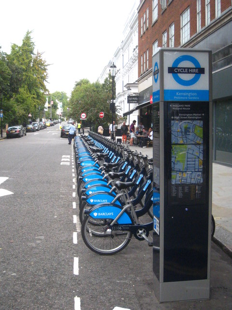 A cycle hire rank in Phillimore Gardens