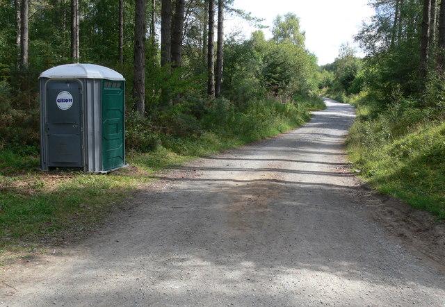 Portable toilet in Newborough Forest