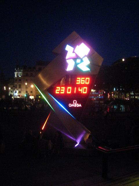 The Olympics countdown clock in Trafalgar Square