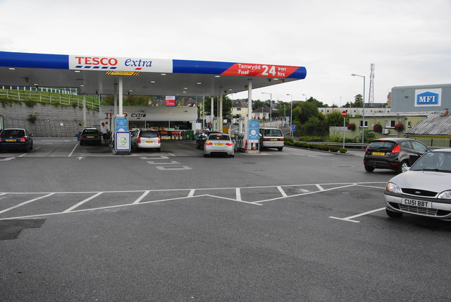 The petrol station at Tesco Carmarthen