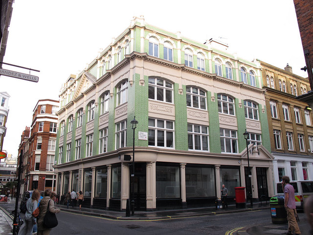 Green-tiled building on Beak Street