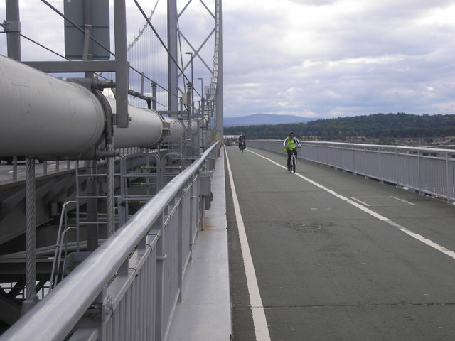 Cyclists crossing the Forth Road Bridge