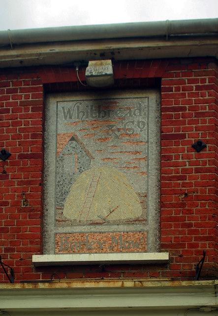 Faded mosaic pub sign, Greenwich