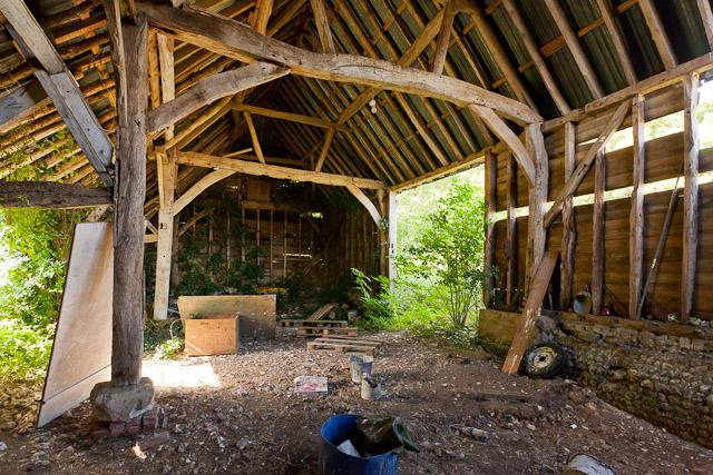 Interior of derelict Hydes Barn, Fawley Lane