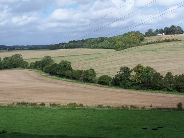 View through power lines across valley towards Boosey Hanging