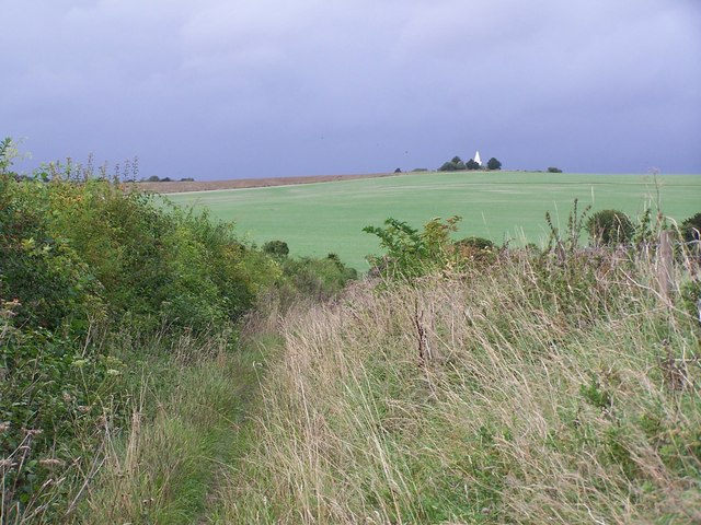 View along footpath towards Mount Down