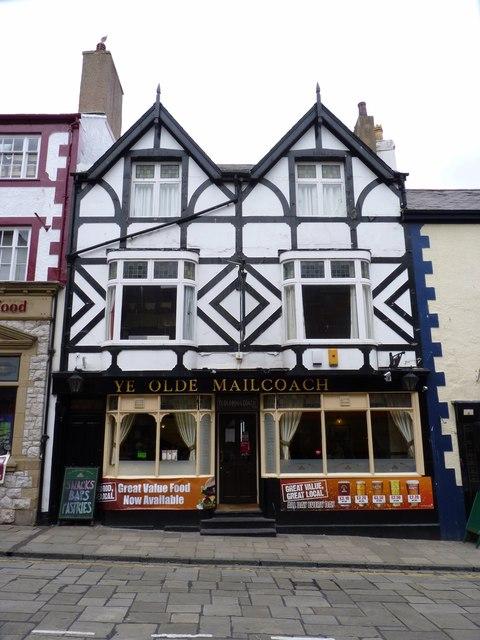 Ye Olde Mail Coach pub on the High Street, Conwy