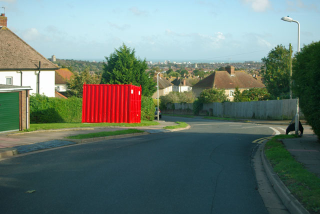 A red box on Hill Road