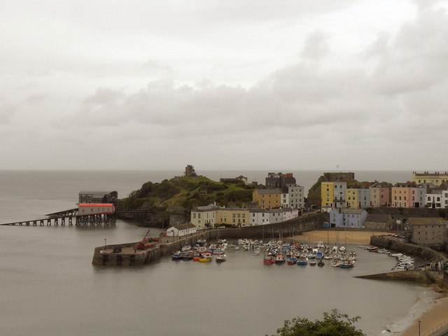 Tenby Harbour and Castle Hill