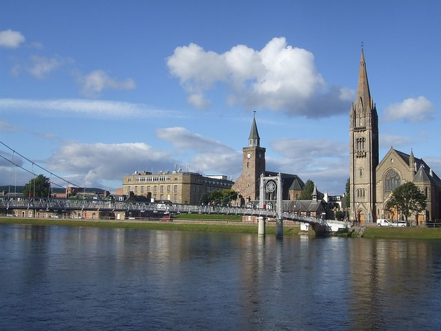 Greig St Bridge and two of Inverness's churches