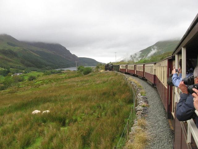 Welsh Highland Railway  above Clogwyn-y-gwin farm