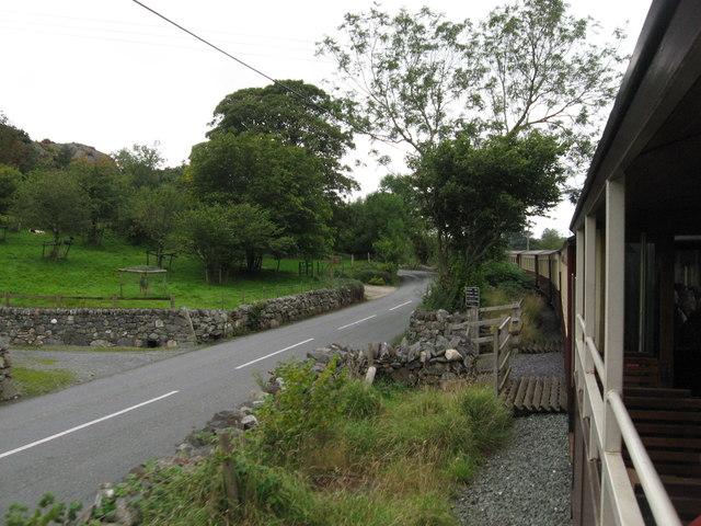 Welsh Highland Railway beside the A4085 near Waunfawr