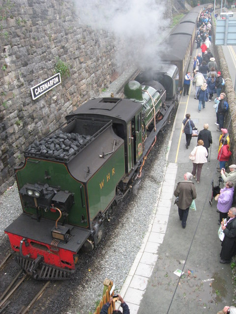 Arrival at Caernarfon station