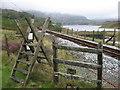 SH6743 : Crossing the Ffestiniog Railway near Tanygrisiau Reservoir by Gareth James