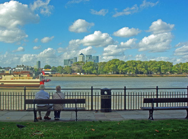 View of the Isle of Dogs and Canary Wharf from Greenwich