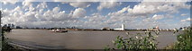TQ4179 : River Thames Panorama near Anchor and Hope Lane by David Anstiss