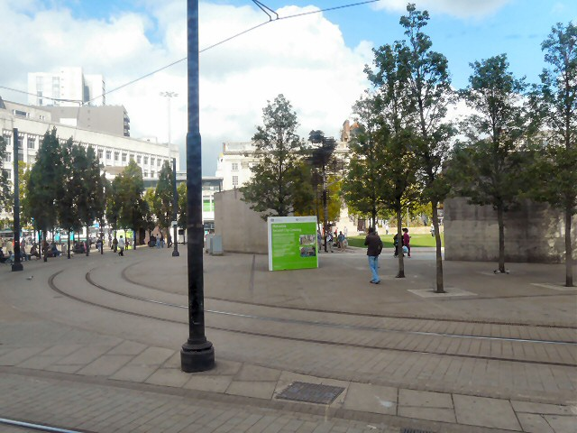 Tramlines at Piccadilly Gardens