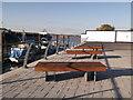 TQ7769 : Benches, Gillingham Pier by David Anstiss