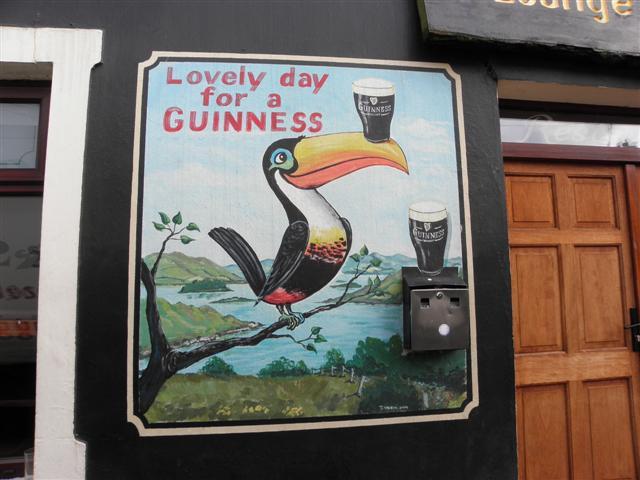 """Lovely day for a Guinness"" mural, Kerrykeel"