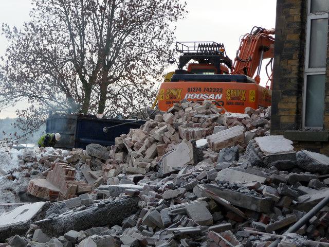Demolition of disused buildings at St Luke's Hospital, Bradford