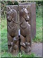 NZ8102 : Carved seat by the old horse drawn tramway by Pauline E