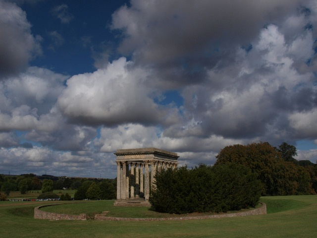 The Temple of Concord at Audley End, encircled by a mini Ha-ha