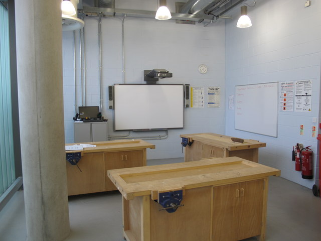 City of Westminster College - woodwork shop with whiteboard