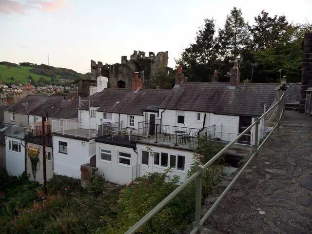 Extensions and roof terraces - rear of houses on Watkin Street, Conwy