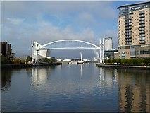 SJ8097 : Salford Quays, lift bridge by Mike Faherty