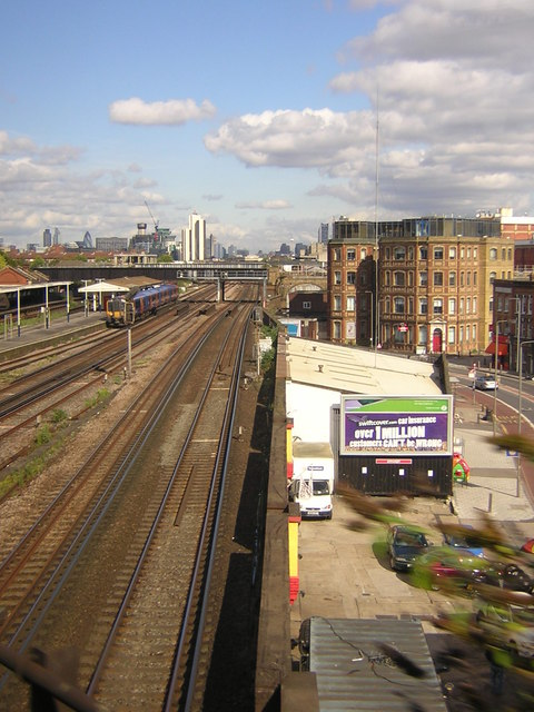 Railway lines into London Waterloo, from a train heading out of London Victoria