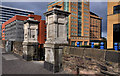 J3473 : Old gate pillars and wall, Belfast by Albert Bridge