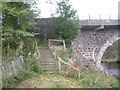 NJ5140 : Steps from riverside path to the road over Bridge of Gibston. by Stanley Howe