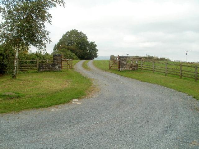 Open gates on an access lane near Tre-herbert Road