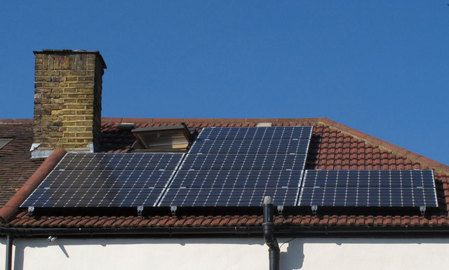 Installation of solar PV panels - panels... © David Hawgood cc-by-sa/2.0 ::  Geograph Britain and Ireland