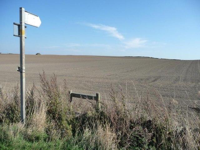 Footpath sign, Gadding Moor