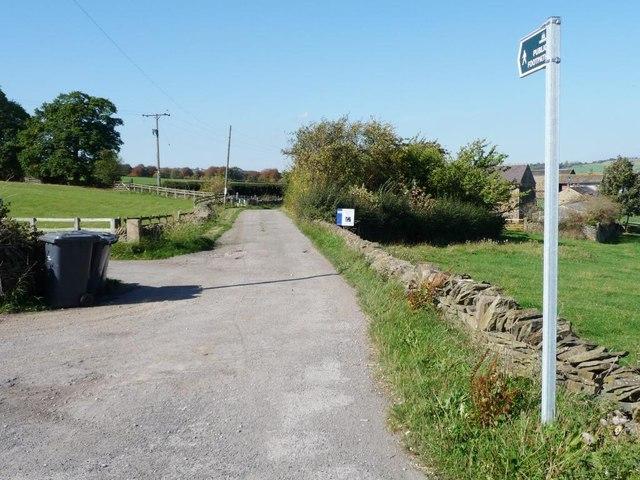 Public footpath along Pashley Green Farm track