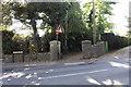 SU3987 : View across Portway of footpath to Letcombe Regis by Roger Templeman