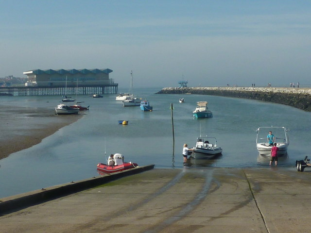 Launching boats on the slipway at Herne Bay