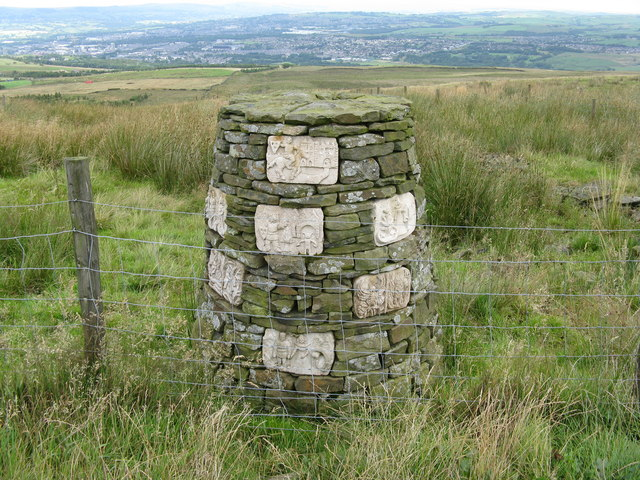 Burnley:  Decorated cairn near Crown Point