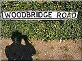 TM2744 : Woodbridge Road sign by Geographer
