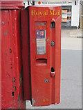 TQ2282 : Edward VII postbox, Harrow Road / Felixstowe Road, NW10 - stamp vending machine by Mike Quinn