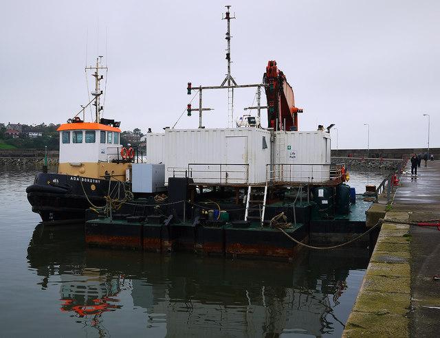 Tug and dredger, Bangor harbour