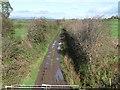 NY3767 : Disused railway near Arthuret by Oliver Dixon