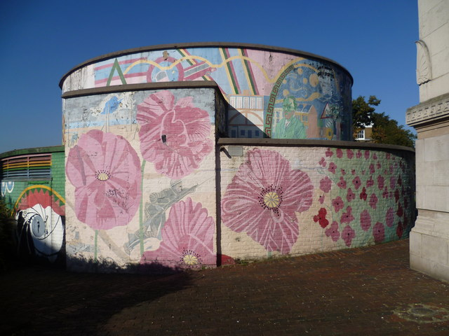 Decorated ventilation shaft in Stockwell Memorial Gardens