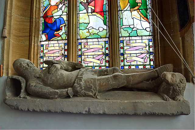 (1) Effigy of a medieval knight - St Peter's church, Dorchester