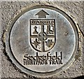 NZ3528 : Sedgefield Heritage Trail pavement plaque, Rectory Road by Andrew Curtis