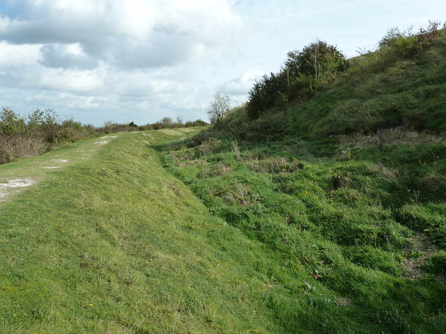 Ramparts on the NE side of Cissbury Ring