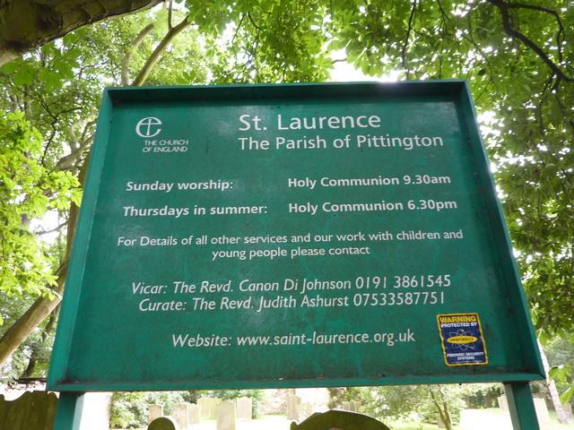 St Laurence Church at Hallgarth, Sign