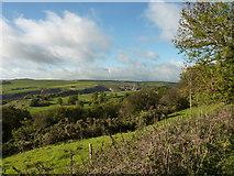 SK2276 : Farmland and quarry near Eyam by Peter Barr